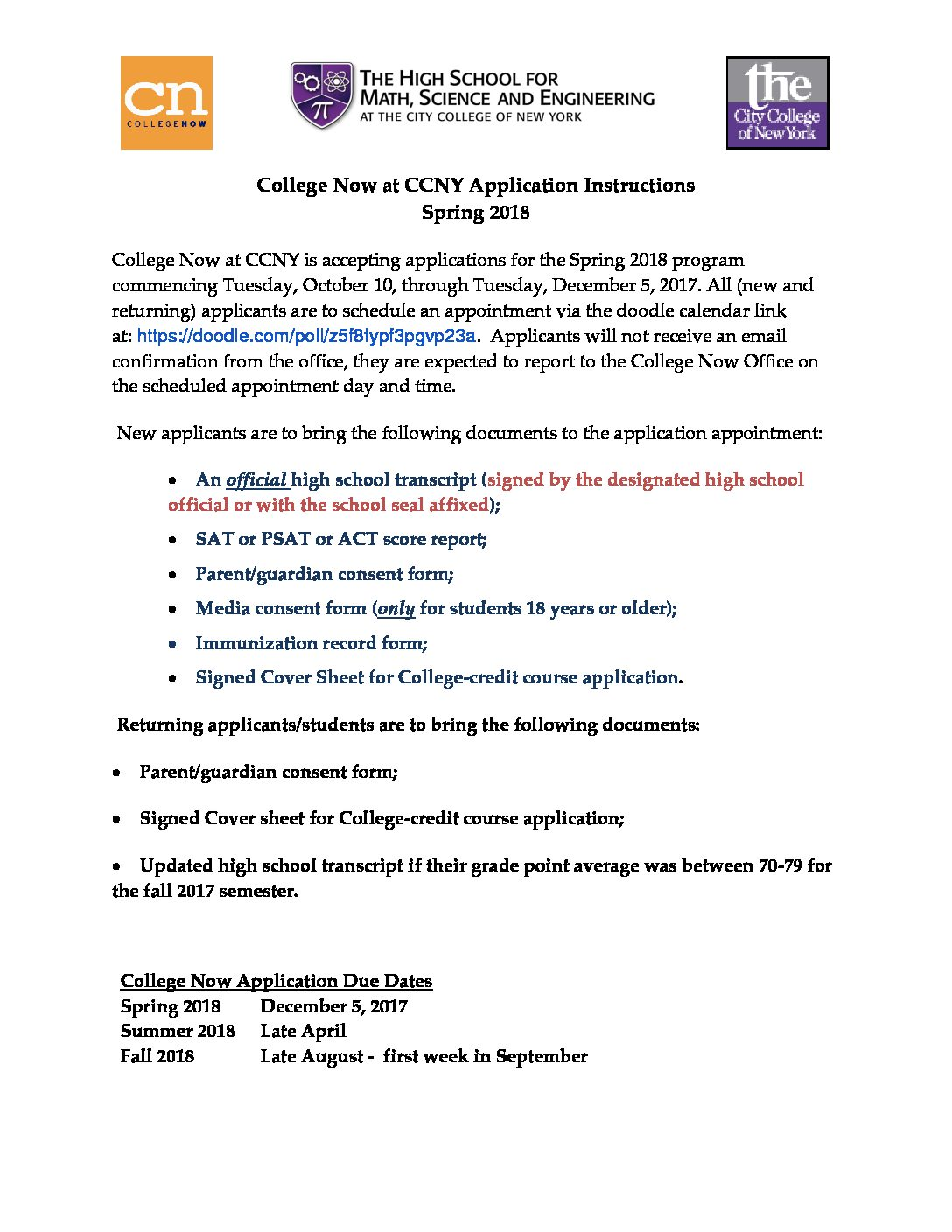 College-Now-@-CCNY-ApplicationInstructions-for-Spring-2018 | HSMSE
